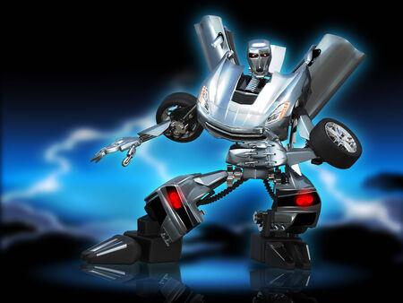 illustration abstract metal robot transformer Stock Photo