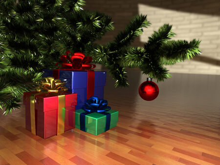paperboard packaging: illustration of Christmas presents under the Christmas tree