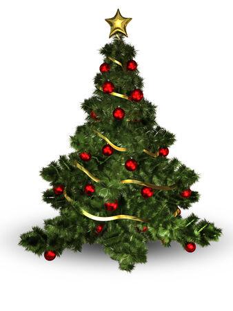 christmas tree illustration: illustration Christmas tree with colorful balls