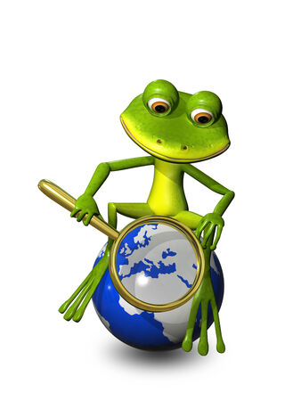 triton: illustration frog on a globe with a magnifying glass Stock Photo