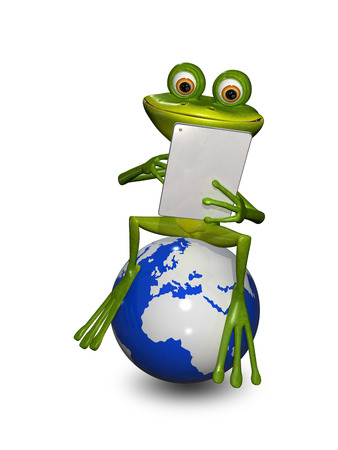 brooding: illustration frog on a globe with the tablet
