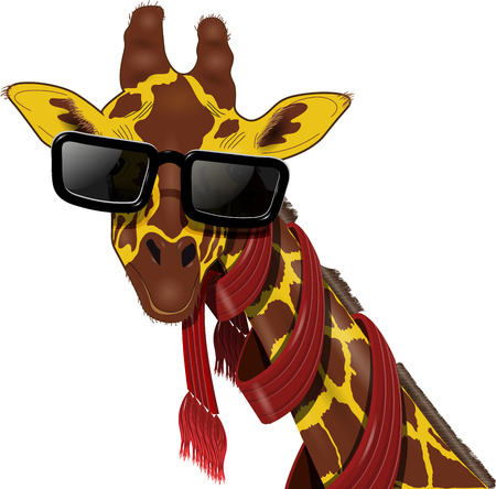 illustration of giraffe in a red scarf and sunglasses