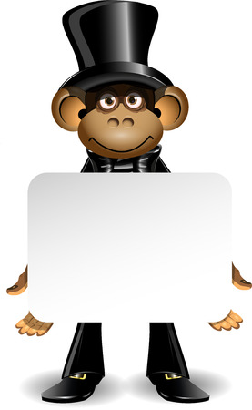 illustration monkey in a top hat with white background Vector