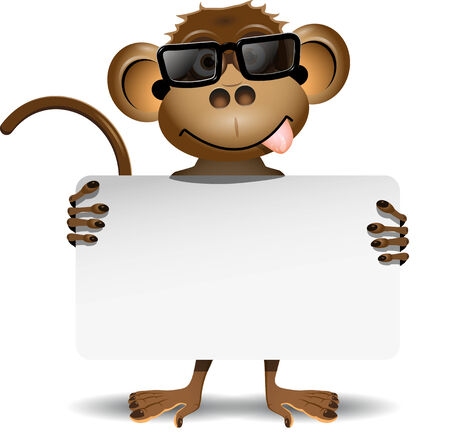 illustration merry monkey with sunglasses and with a white background Vector