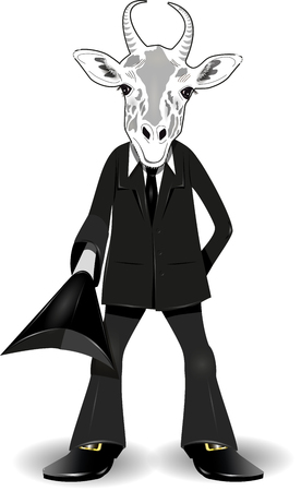 silliness: abstract illustration of a goat in a suit