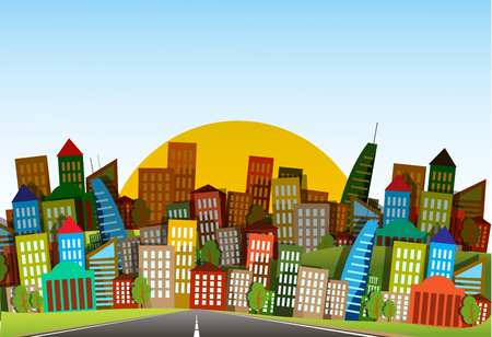 industrial complex: illustration long road in city under blue sky Illustration