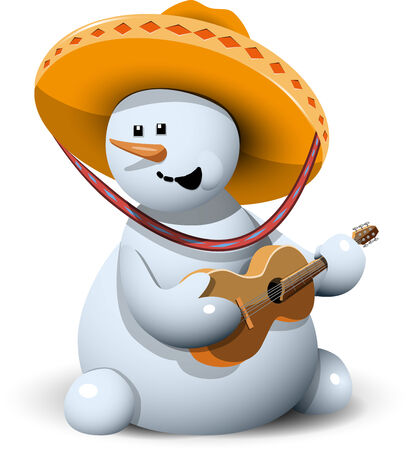 illustration merry snowman with his guitar in a sombrero Illustration