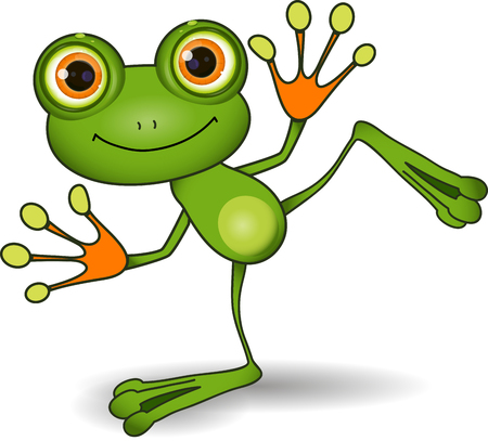 illustration standing cute green frog with big eyes