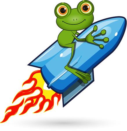 rana: Ilustraci�n de una rana de dibujos animados en el cohete Vectores