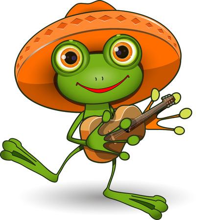 Ilustración de la rana en un sombrero con una guitarra