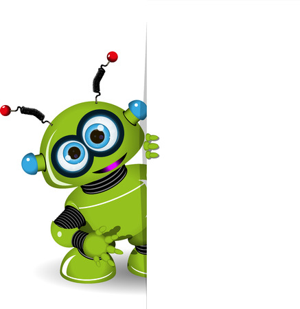 Illustration green robot and white background