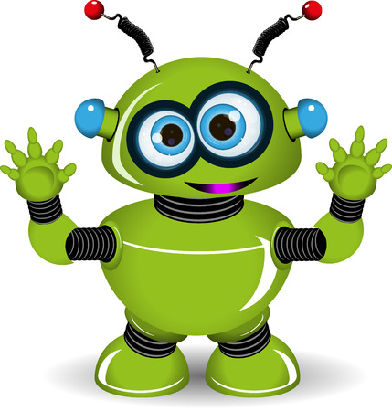 Illustration of a green robot with antennae