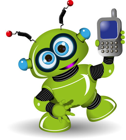 Illustration cheerful green robot and a phone Vector