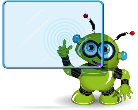 symbol robot: Illustration green robot with a blue screen