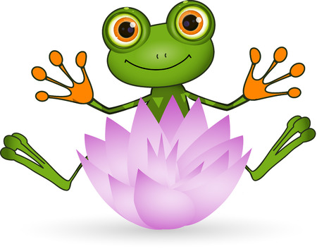 brooding: Illustration cute green frog with lotus flower Illustration