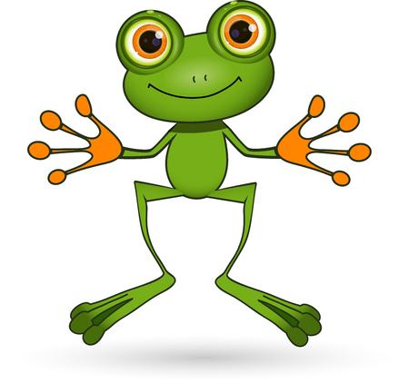 Illustration stehen niedlichen grünen Frosch mit großen Augen Vektorgrafik