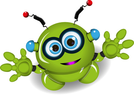 the antennae: Illustration of a green robot with antennae