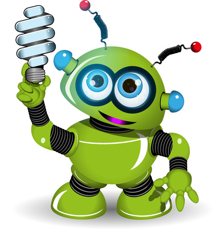 antennae: Illustration of a green robot with antennae and lamp