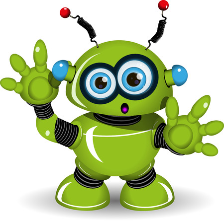 surprisingly: Illustration of a green robot with antennae