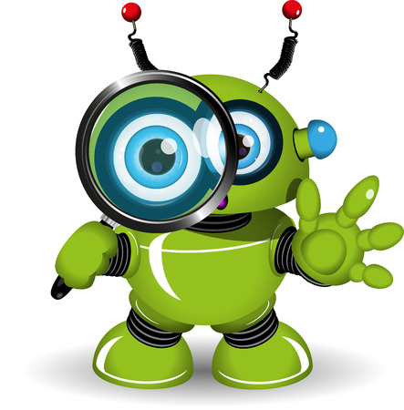 android robot: Illustration of a green robot with a magnifying glass