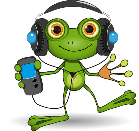 red eye frog: Illustration of a cartoon frog in headphones