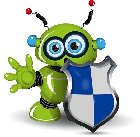 antivirus: Illustration of a green robot with a shield Illustration