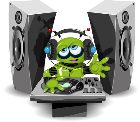 dj headphones: Illustration of a cheerful green robot DJ Illustration