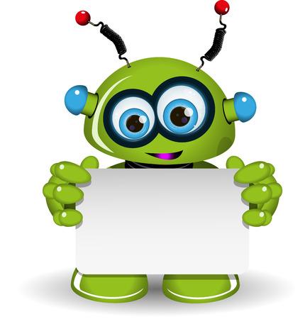 Illustration a green robot and white background Çizim