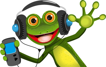 triton: Illustration of a cartoon frog in headphones