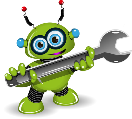 symbol robot: Illustration a cheerful green robot for repairs