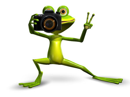 amphibious: Illustration a Merry Green Frog with a Camera Stock Photo