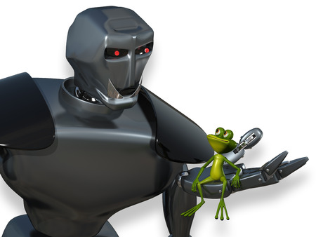 triton: Illustration Frog in the Palm of the Robot