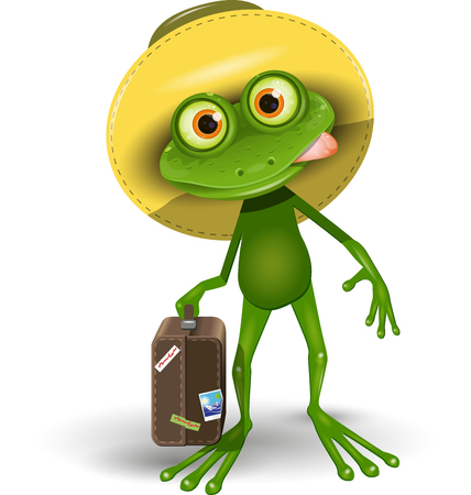 amphibious: Illustration Green Frog with a Suitcase