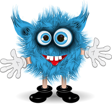 illustration fairy shaggy blue monster with blue eyes