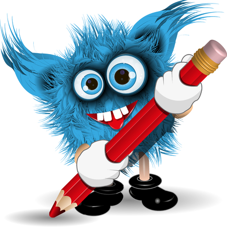hairy adorable: Illustration fairy shaggy blue monster with a Pencil Illustration