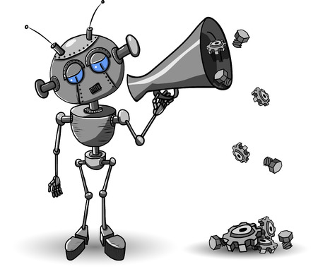 Cartoon illustration of a iron robot with Speaker Vector