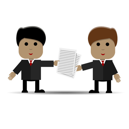 two people meeting: Abstract illustration of business meeting of two people Illustration