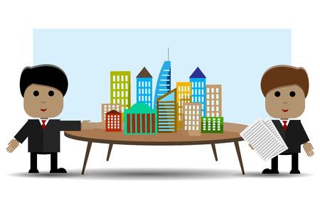 duas pessoas: Ilustração abstrata de duas pessoas e projeto arquitetônico