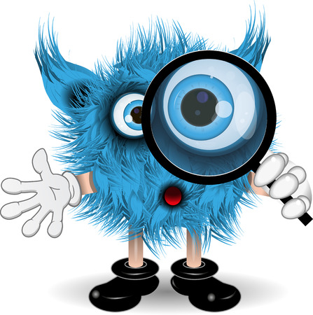 surprisingly: illustration fairy shaggy blue monster with a magnifying glass