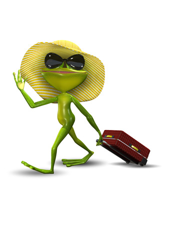 triton: Illustration Frog with a Suitcase in a Hat Stock Photo