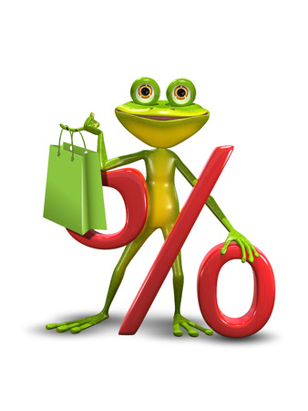 percent sign: Illustration of a green cartoon frog and the percent sign Stock Photo