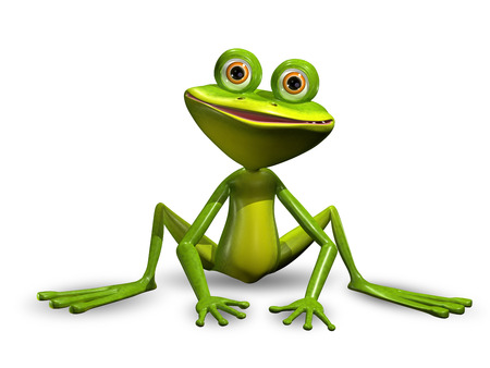 triton: 3d Illustration Merry Green Frog with Big Eyes