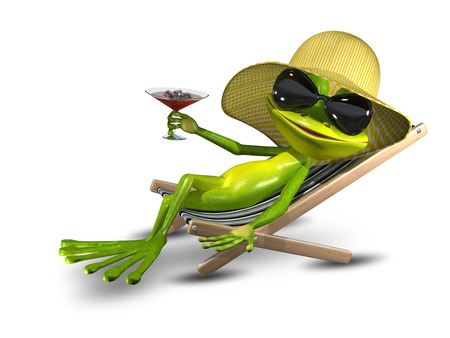 frog: Illustration Frog in a Hat on a Deck Chair with a Sunglasses