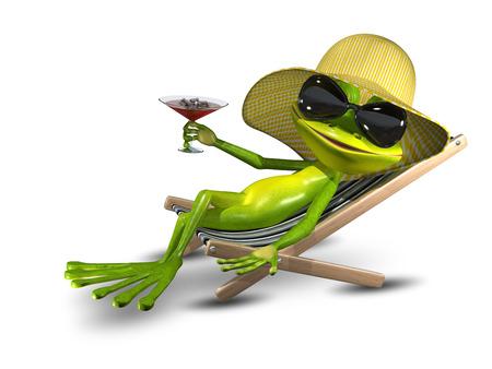 grenouille: Illustration Grenouille dans un chapeau sur une chaise longue avec un Lunettes de soleil Banque d'images