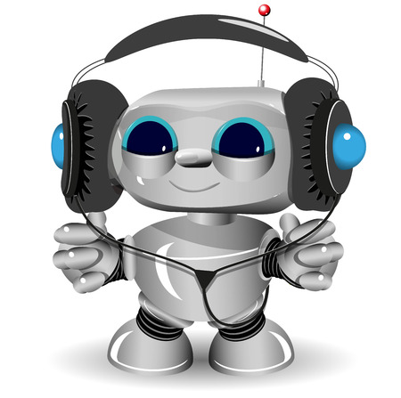 anything: Illustration of a White robot listen to anything