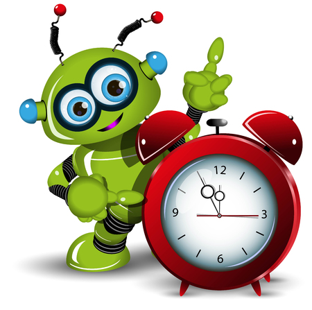surprisingly: Illustration a green robot and alarm clock Illustration