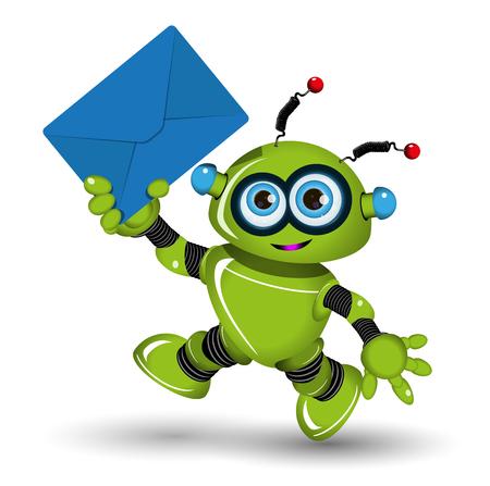 mailmen: Illustration of a green robot with blue envelope