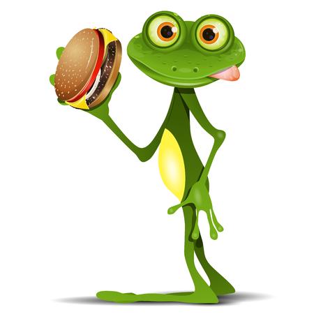 rana: Ilustraci�n feliz rana verde con una deliciosa hamburguesa con queso
