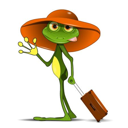 rana: Ilustración de la rana con una maleta en un sombrero Vectores