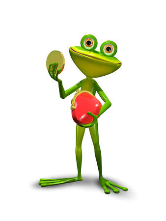 brooding: illustration green Frog with a red purse Stock Photo